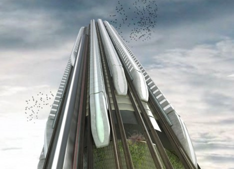 towers high speed vertical train hub