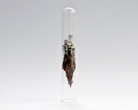 test tube floating