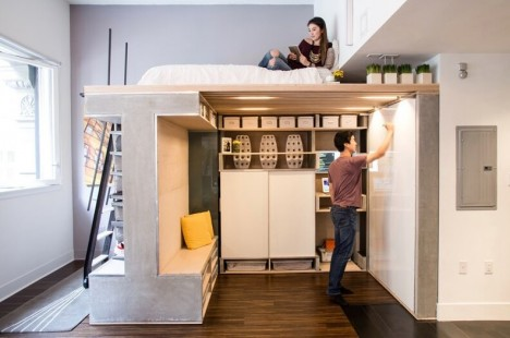 High Ceiling Loft Bed With Stair Storage