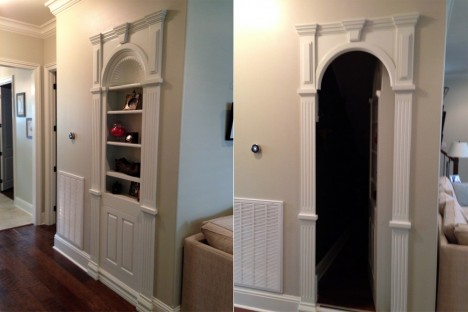 hidden passageway built in bookcase