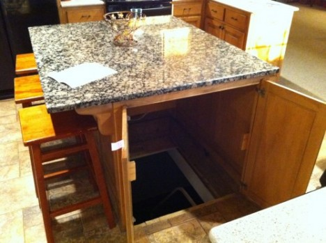 hidden storm shelter kitchen island