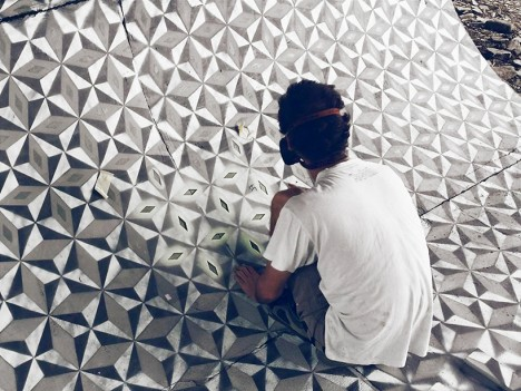 tile curved surface stencil