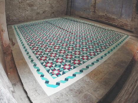 tile floor mural