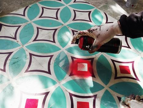 tile floor spraypaint stencil