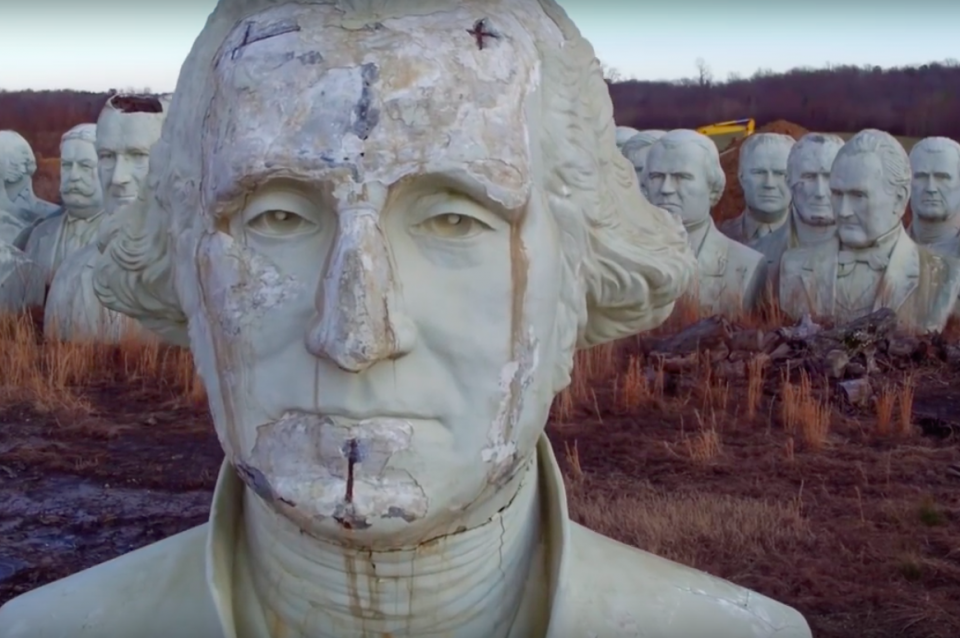 Drone footage of abandoned president statues