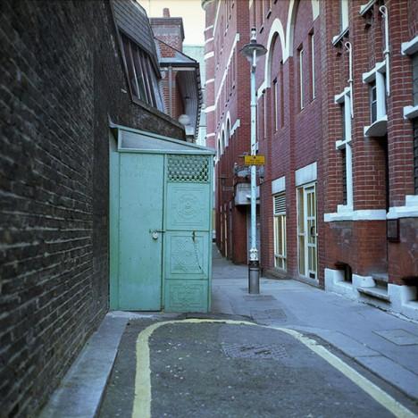 abandoned alley bathroom entrance