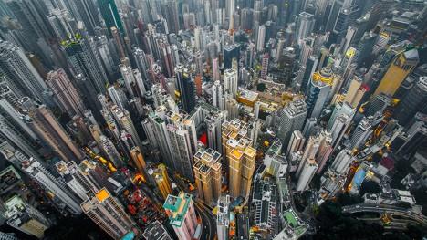 drone aerial city