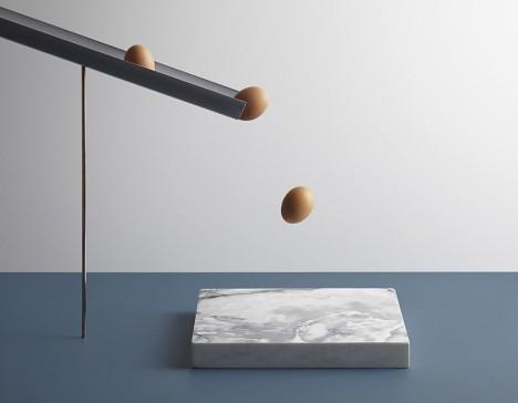 eggs onto marble