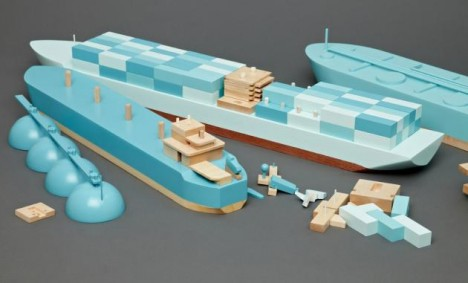 mini modernist wooden ship 2