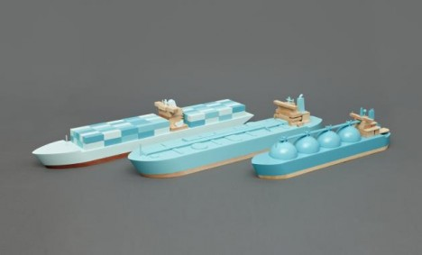 mini modernist wooden ship