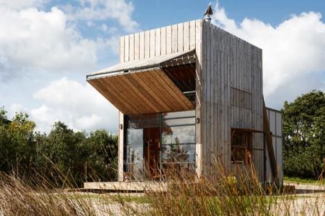 mobile cabin hut on sleds