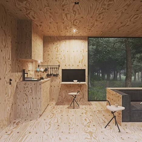 Lovely Modern Cabin Interior Plywood Modern Cabin