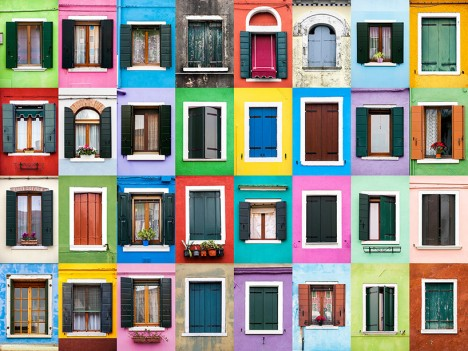 windows of burano italy