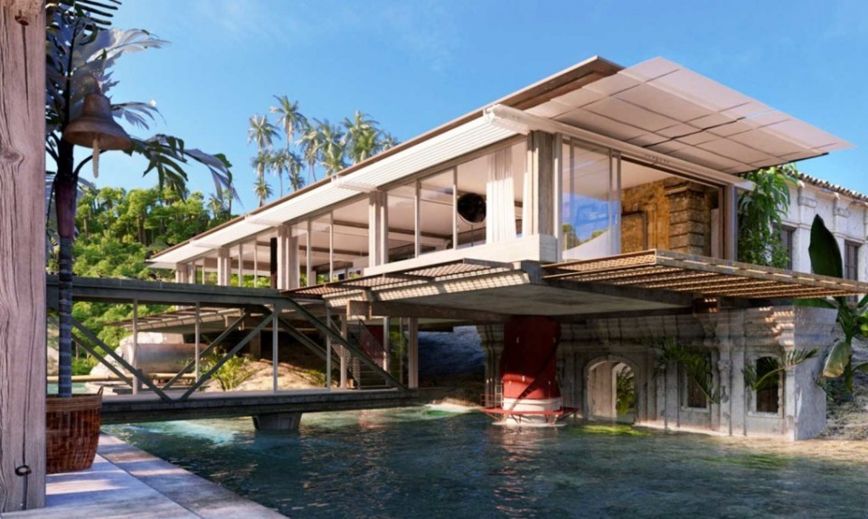beach floating home
