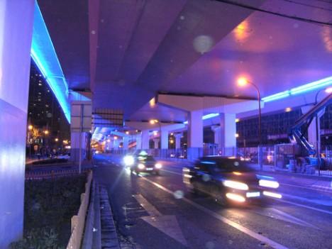 blue light highway signs