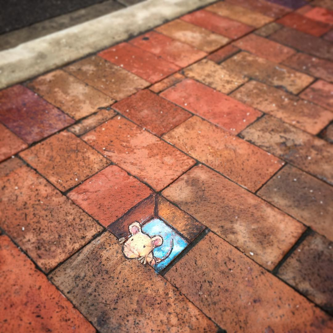 Depth-Defying Art: 3D Chalk Characters Blend into City Streets