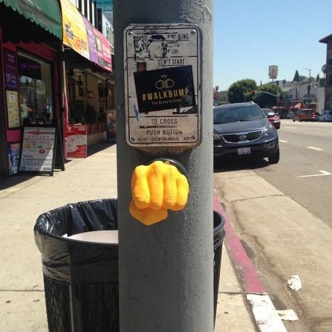 crosswalk fist bump