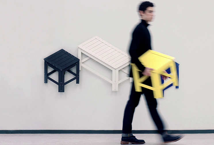 Flat pack wall furniture folds into its own isometric for Flat pack muebles