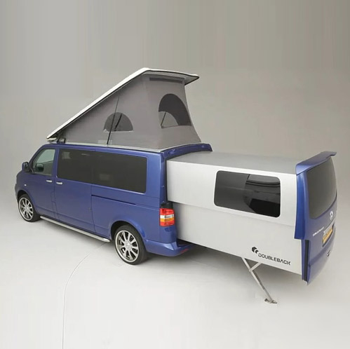 vw doubleback hacked camper van unfolds into huge mobile home urbanist. Black Bedroom Furniture Sets. Home Design Ideas