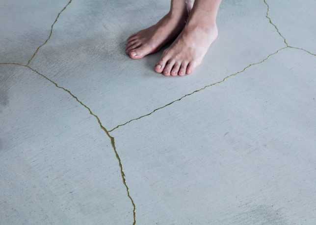 gold floor cracked resin