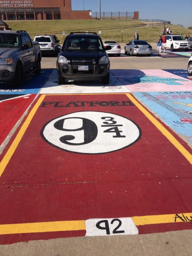 My space 15 creatively painted high school parking spots for Car painting school