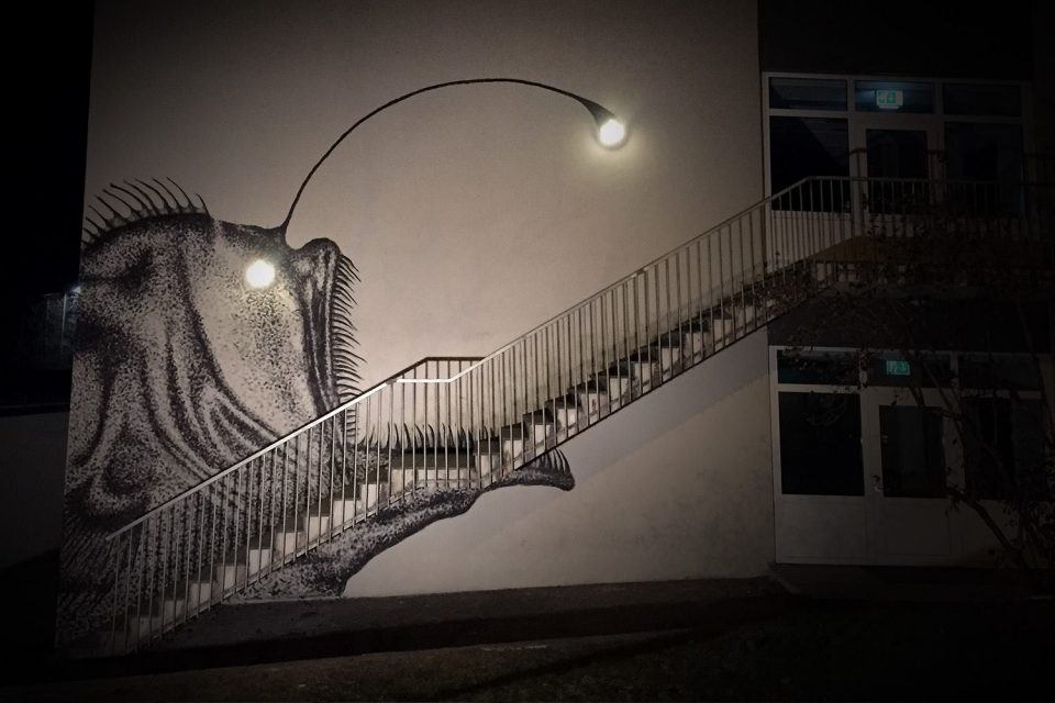 Bright Ideas For Dark Art Murals By Skurk Play Tricks With Light Night