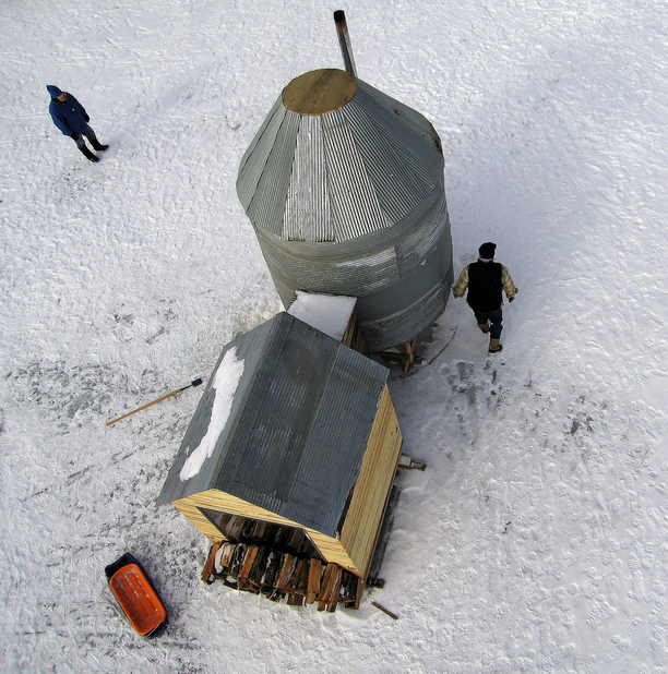 Angling for warmth in winter 21 ice fishing hut designs for Ice fishing shanty