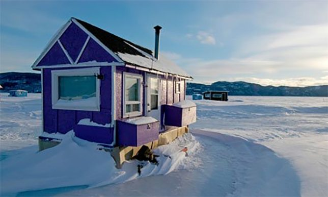 Angling for warmth in winter 21 ice fishing hut designs for Ice fishing shacks