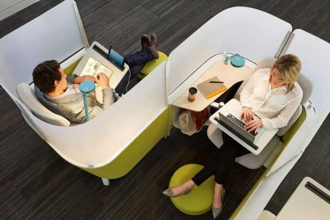 This Desk By Workplace Furniture Manufacturer Steelcase Feels Enclosed Yet  Open At The Same Time, With A Design That Offers Some Privacy And Minimizes  ...