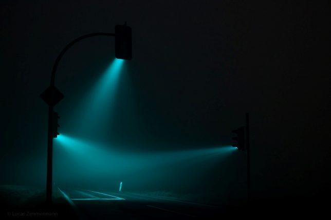 Street Light Art Traffic Signals Emit Surreal Rainbow