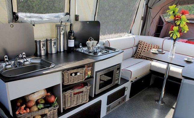 The Inside Of This Camper Trailer Is Surprisingly Swanky Given Its Low Profile And Unlike Traditional Pop Up Trailers OPUS Self Inflates Within