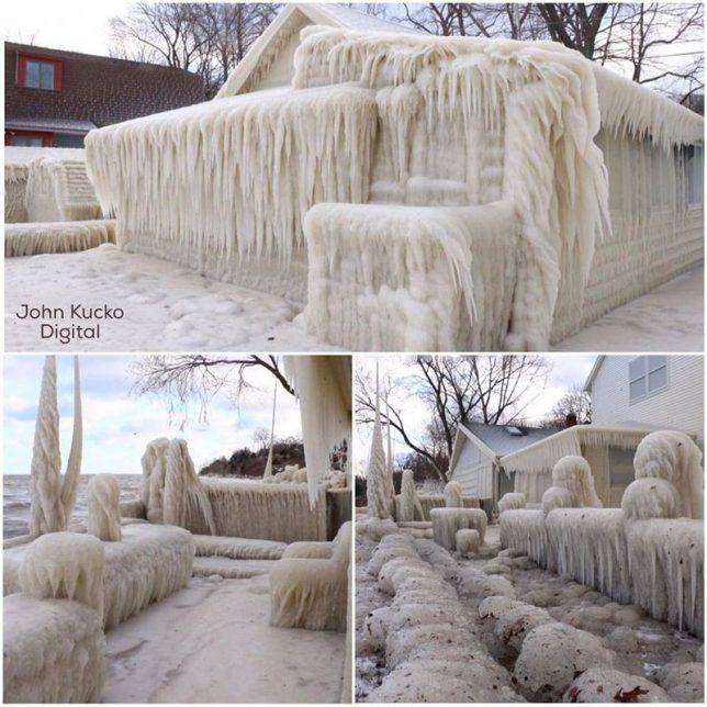 iced over house