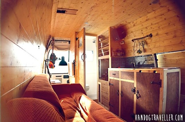 The Interior Of This Sprinter Is Reminiscent 70s School Bus Conversions Completely Fitted Out With Wood Surfaces And A Stove Yet Exterior