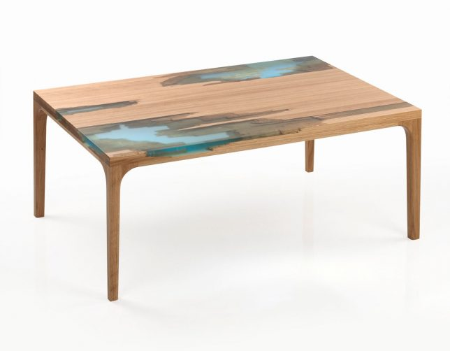 ... Mimics The Way Trees Heal Themselves By Releasing Resin Into Their  U0027wounds.u0027 The Hand Crafted Furniture Is Made Of Broken Wood Patched With  Tinted Resin ...