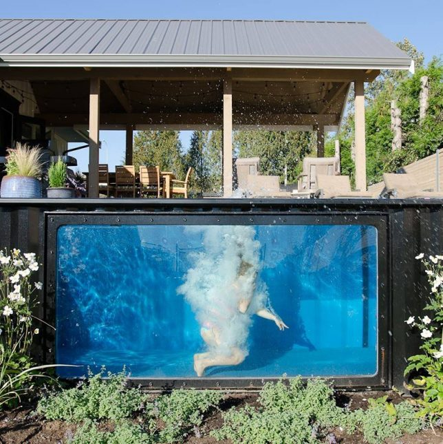 Ship swim mobile cargo container pool on demand hot for Modular pool house