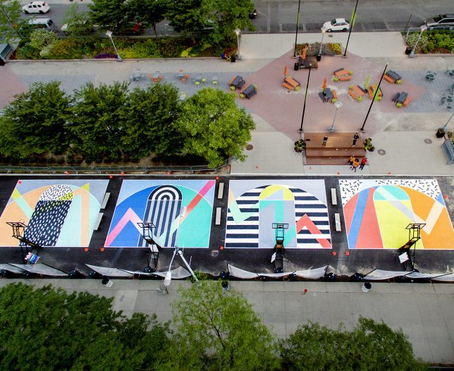 Nothin but net 12 slam dunk artistic basketball court for Basketball court mural