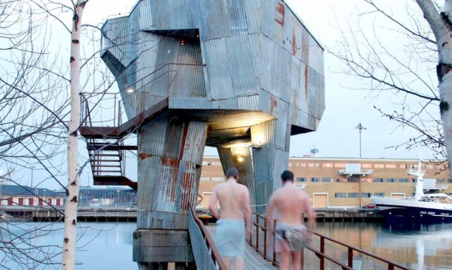 Acclaim for the reclaimed 14 cool upcycled architecture projects urbanist - The industrial looking sauna in the port city of goteborg ...