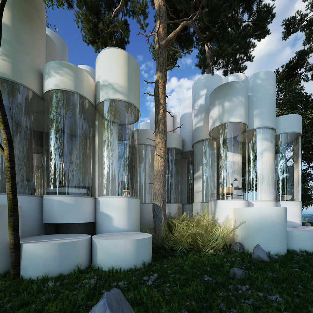 Cylinder House This Residence Is Just A Cluster Of Glass