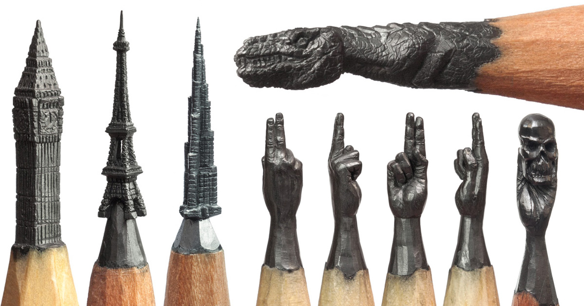 Pencil art sculptures explore the hidden beauty of