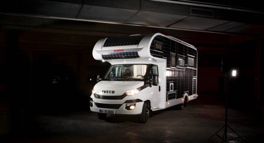 Mobile E-Home: Solar-Powered Electric Motorhome Recharges on the