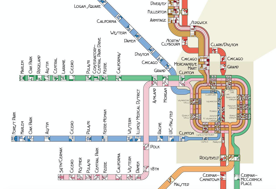 Subway Map Chicao.Prairie Style Subway Maps Chicago Rail Routes Rendered Ala Frank