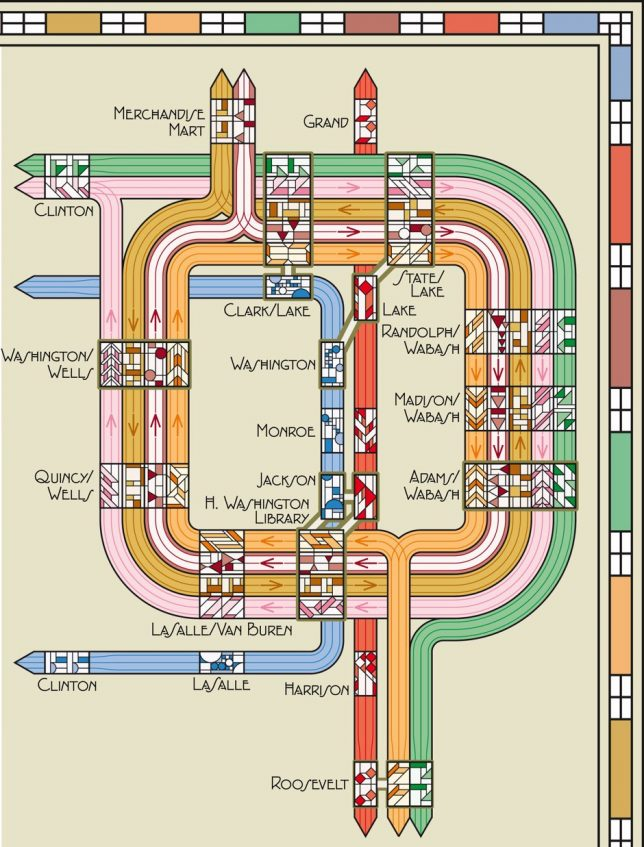 Frank Lloyd Wright Chicago Map.Prairie Style Subway Maps Chicago Rail Routes Rendered Ala Frank