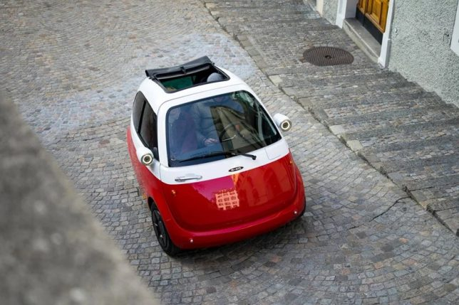 Microlino Tiny Electric Car With Front Hood Door For Easy Urban