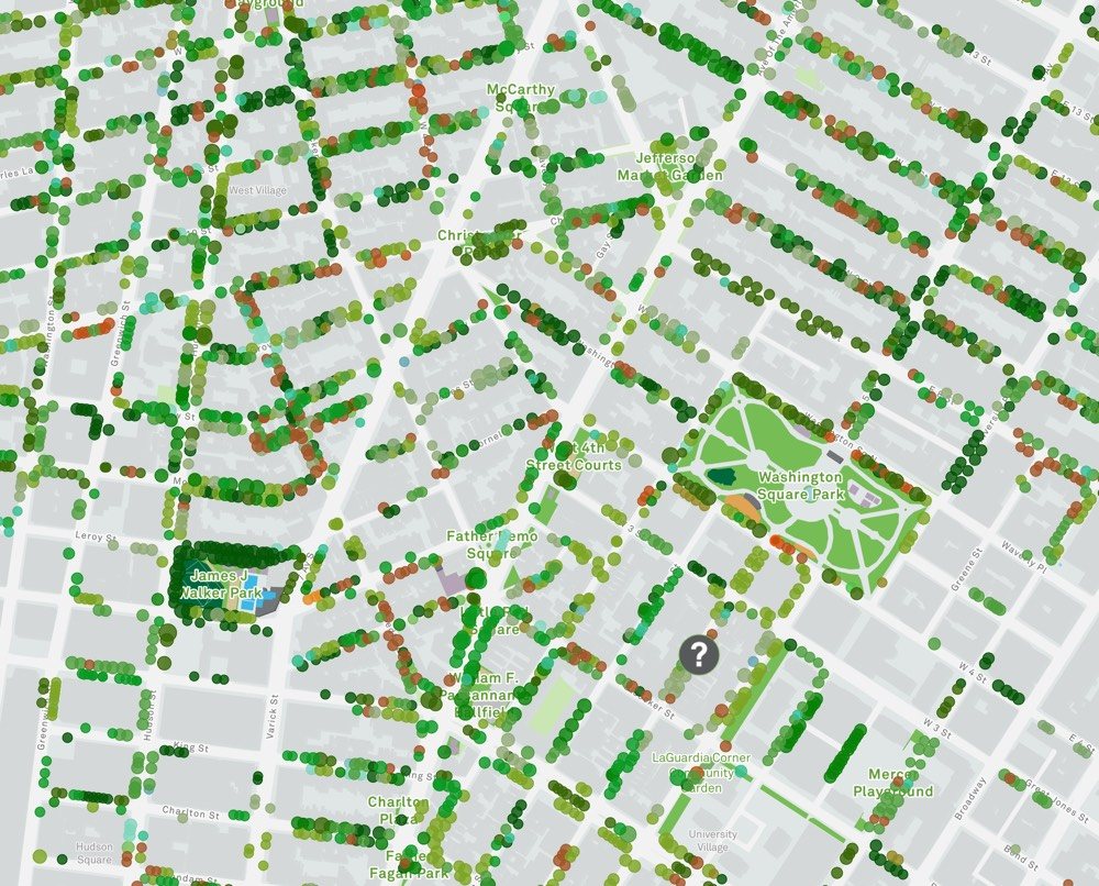 Interactive Map Of New York City.Urban Forestry Explore 678 632 Street Trees Of Nyc With Interactive