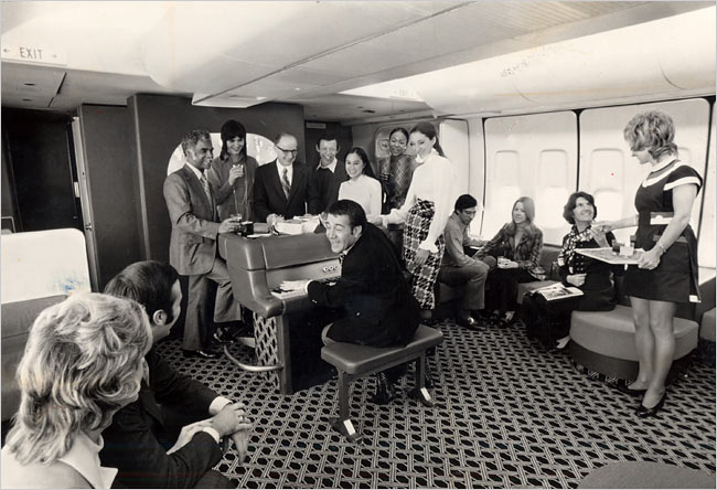 An American Airlines economy flight in the 1960s