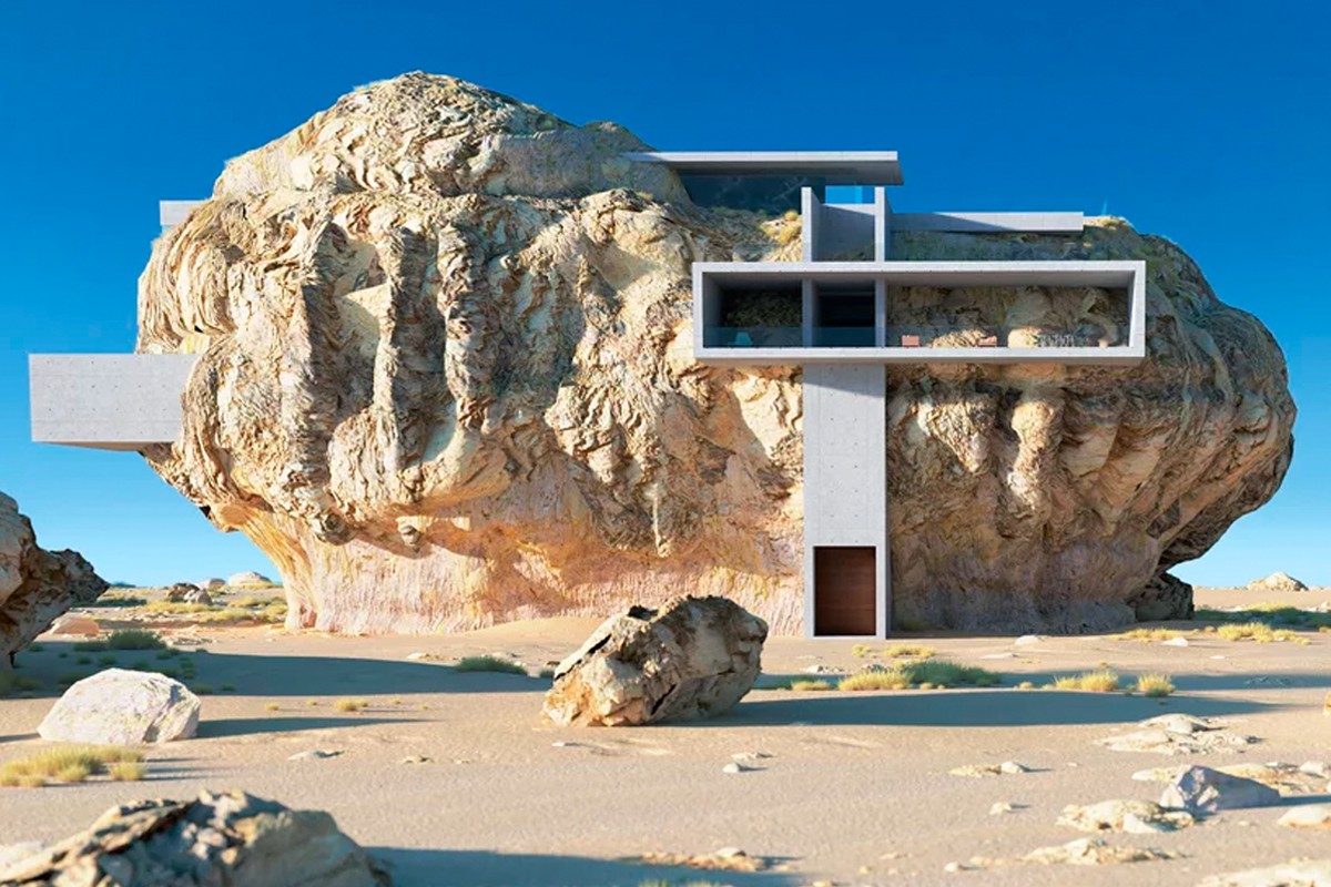 House Inside a Rock Takes Inspiration from Ancient Sandstone Tombs